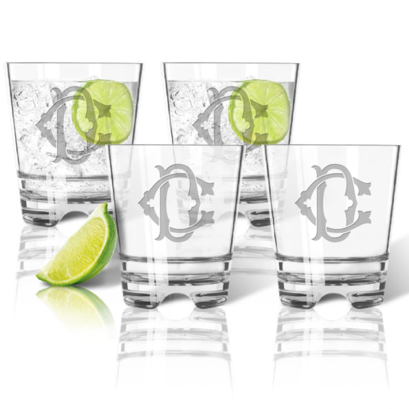 Monogram Chic Double Old Fashioned (Unbreakable Acrylic) - Set of 4