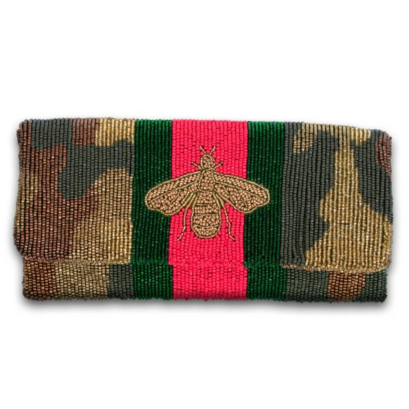 Foldover Beaded Clutch - Camo Racing Stripe Bee