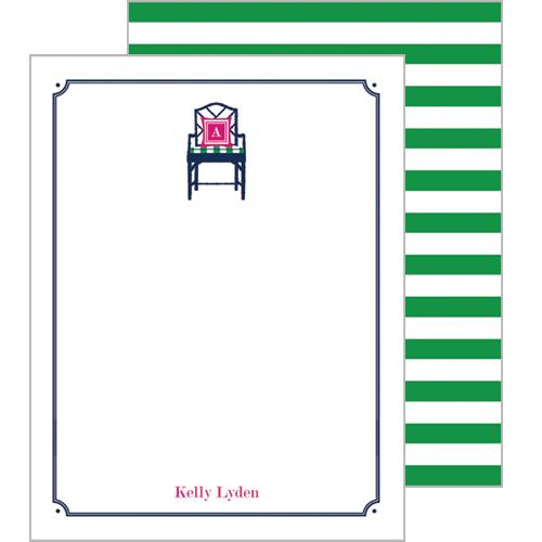 Monogram Flat Note Cards Bamboo Chair - WH Hostess