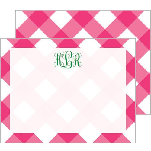 Monogram Flat Note Cards Buffalo Check - WH Hostess