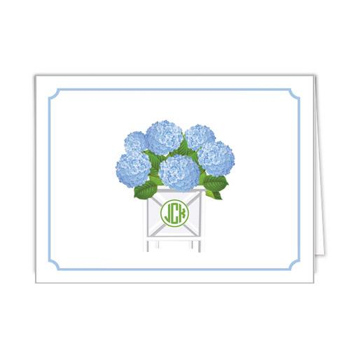 Monogram Folded Note Cards Blue Hydrangeas by WH Hostess