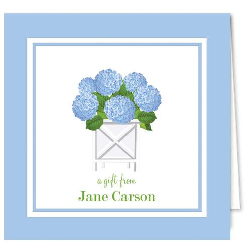Monogram Gift Enclosure Cards Blue Hydrangea by WH Hostess
