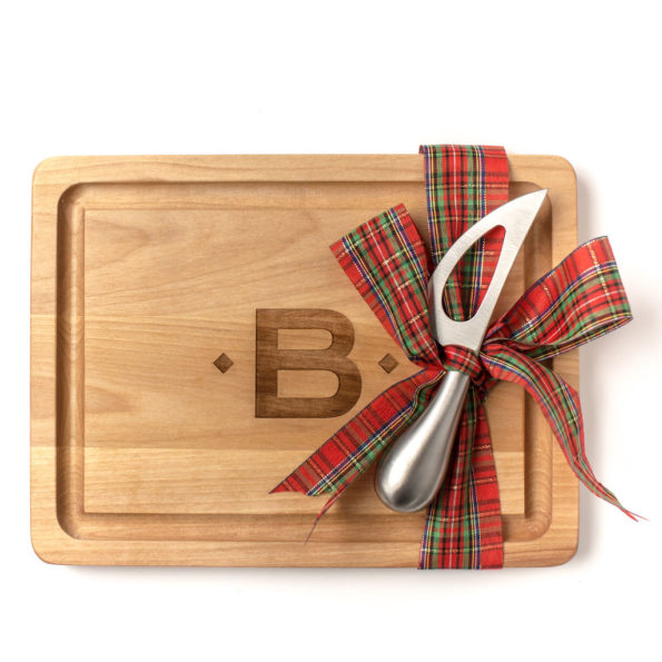 Single Initial Wood Cutting Board with Cheese Knife