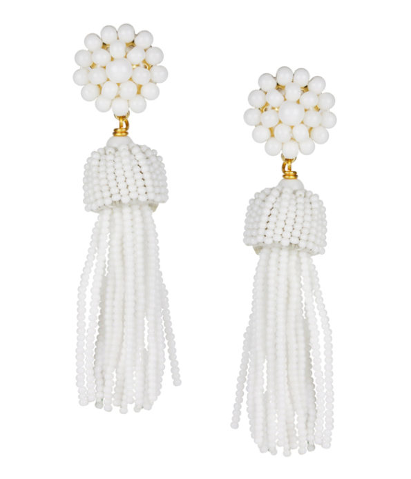 Tassel Earrings White - Lisi Lerch