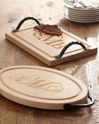 Personalized Wood Cutting Board with Handles