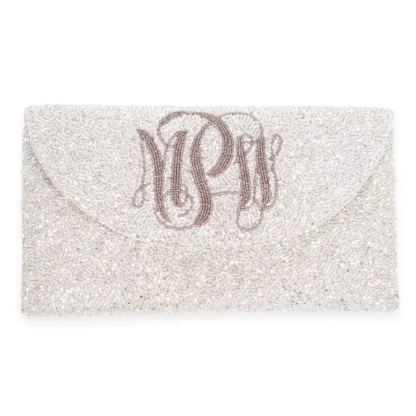 Crescent Flap Custom Beaded Monogram Clutch