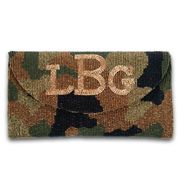 Crescent Flap Custom Beaded Camo Monogram Clutch