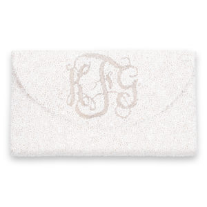 Crescent Flap Custom Beaded Wedding Day Clutch