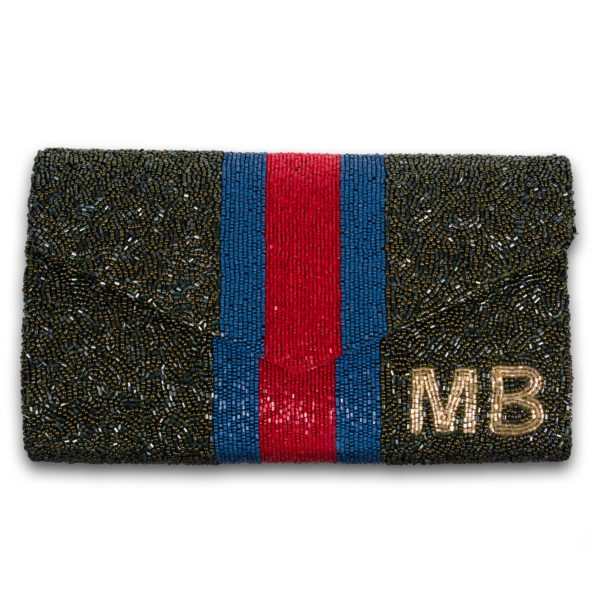 Envelope Custom Beaded Racing Stripe Monogram Clutch