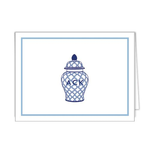 Monogram Folded Note Cards Geometric Ginger Jar by WH Hostess