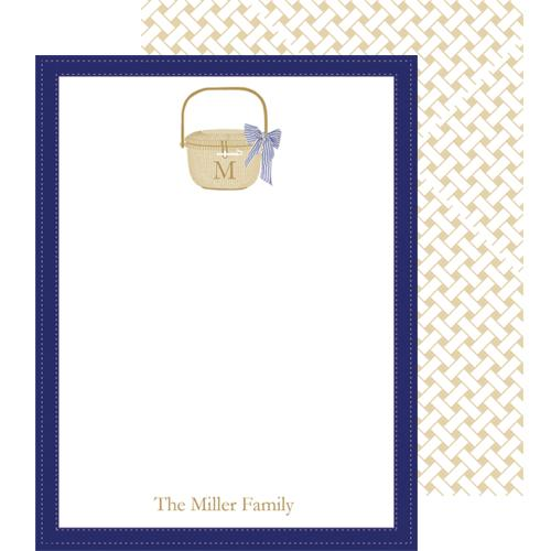 Monogram Flat Note Cards Nantucket Basket - WH Hostess