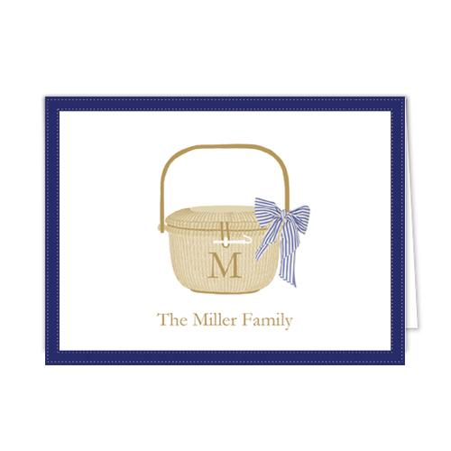 Monogram Folded Note Cards Nantucket Basket by WH Hostess