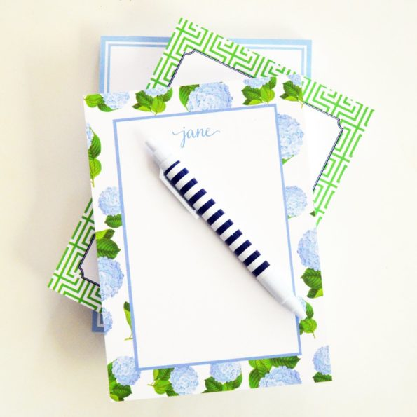 Monogram Notepad Blue Hydrangea Pattern - WH Hostess