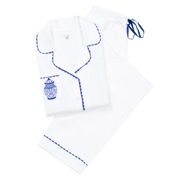 Ginger Jar White Embroidered Cotton Sateen Pajamas Set
