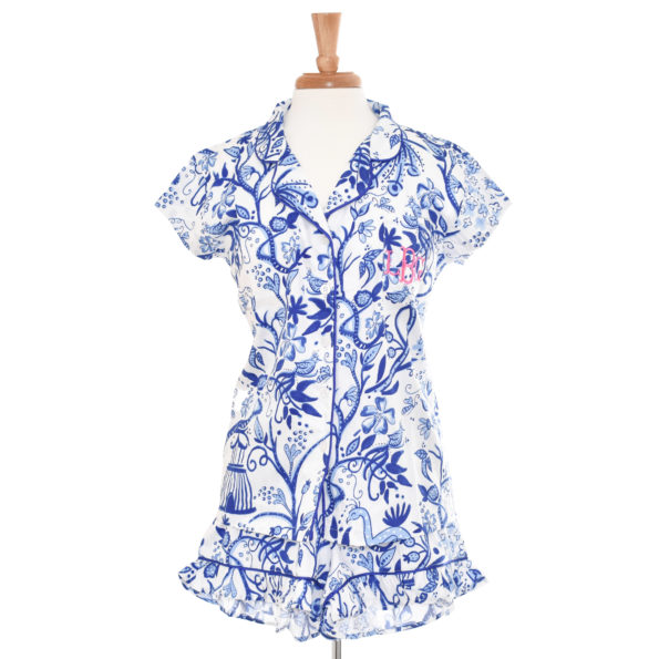 Birds of a Feather Monogrammed Cotton Sateen Ruffled Summer Pajamas