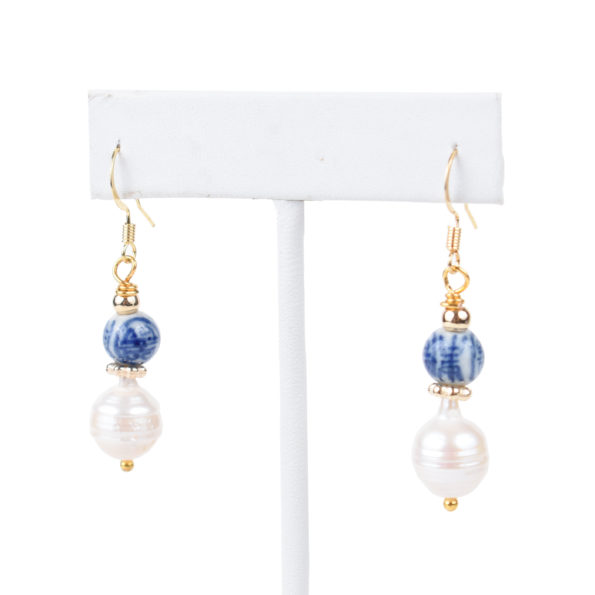 Chinoiserie Blue & Baroque Pearl Drop Earrings - MCS Designs