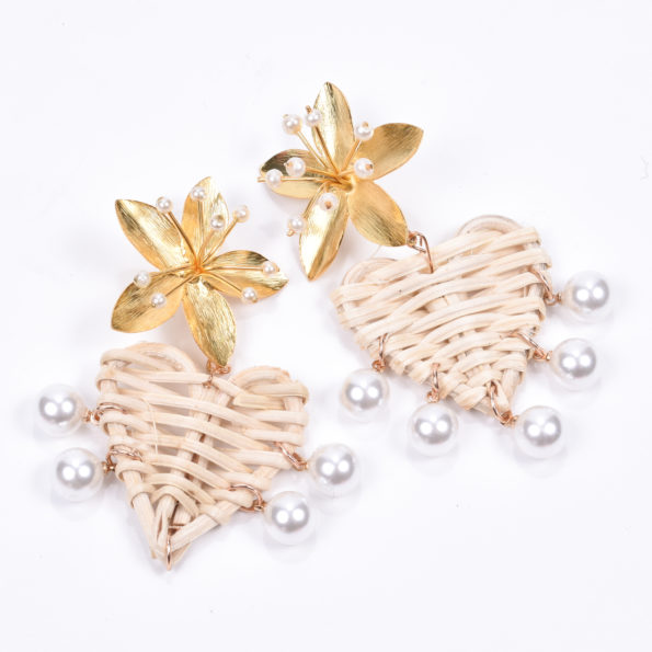 Pearl Accent Rattan Earrings - Nicola Bathie