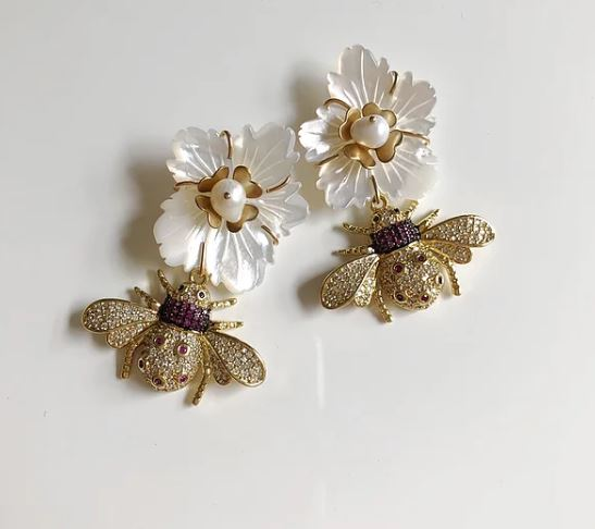Mother of Pearl & Embellished Bug Earrings 3 - Nicola Bathie