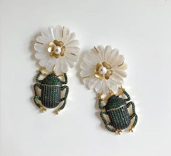 Mother of Pearl & Embellished Bug Earrings - Nicola Bathie