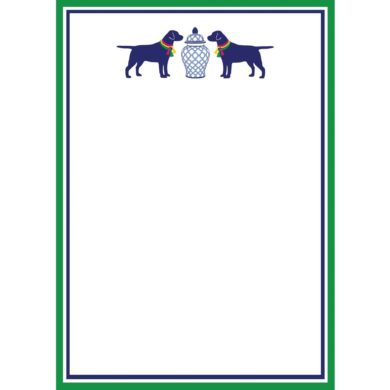 Dogs and Geometric Ginger Jar Notepad - WH Hostess