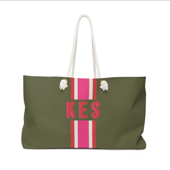Stripe Army Green | Pink Travel Tote - Clairebella Studio