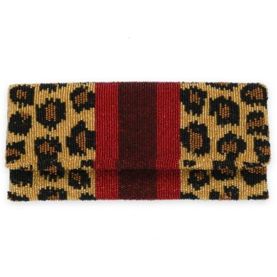 Mrs. Southern Social Foldover Beaded Clutch - HO HO HO Leopard Racing Stripe