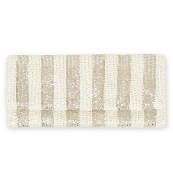 Mrs. Southern Social Foldover Beaded Clutch - Silver & White Awning Stripes